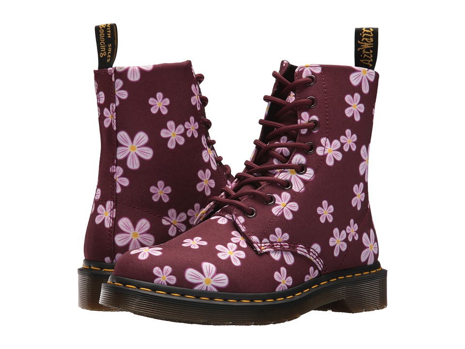 Dr. Martens Page Meadow 8-Eye Boot (White Meadow/Cherry Red T-Canvas) Women