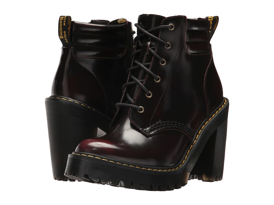Dr. Martens Persephone 6-Eye Padded Collar Boot (Cherry Red/Arcadia) Women