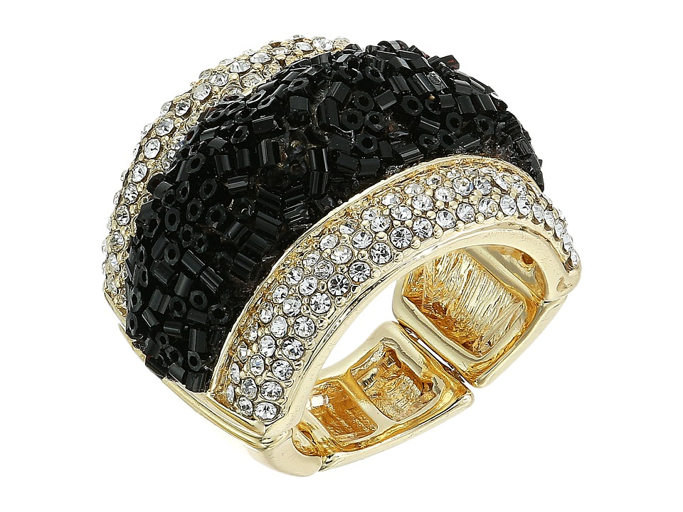 GUESS - Crushed Stone with Pave Ring (Gold/Jet/Crystal) Ring