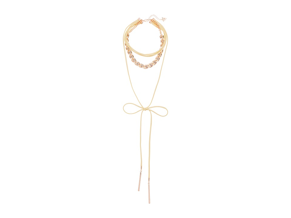 GUESS - Multi Row Choker with Woven Chain and Tie Front Necklace (Rose Gold/Ivory/Crystal) Necklace