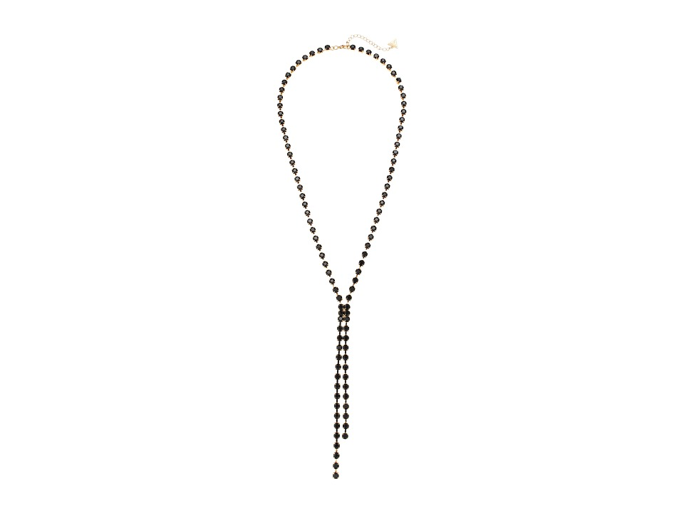 GUESS - Rhinestone Chain Y Necklace (Gold/Jet) Necklace