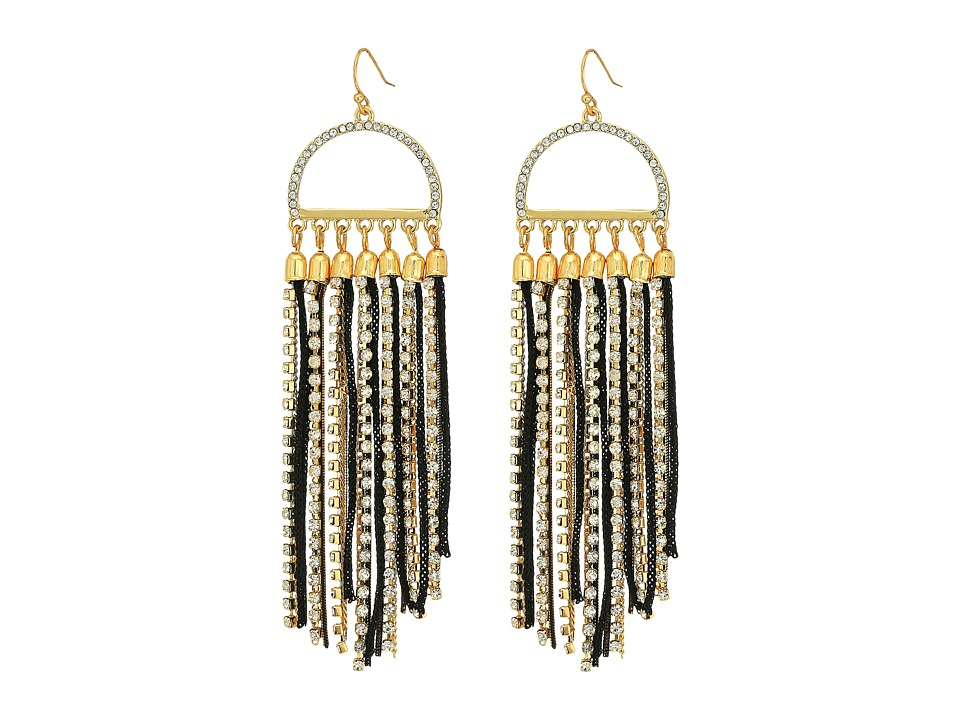 GUESS - Mixed Chain Fringe Drop Earring (Gold/Jet/Crystal) Earring
