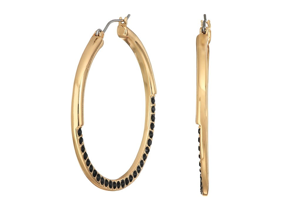 GUESS - Hoop with Stones Earrings (Gold/Jet) Earring