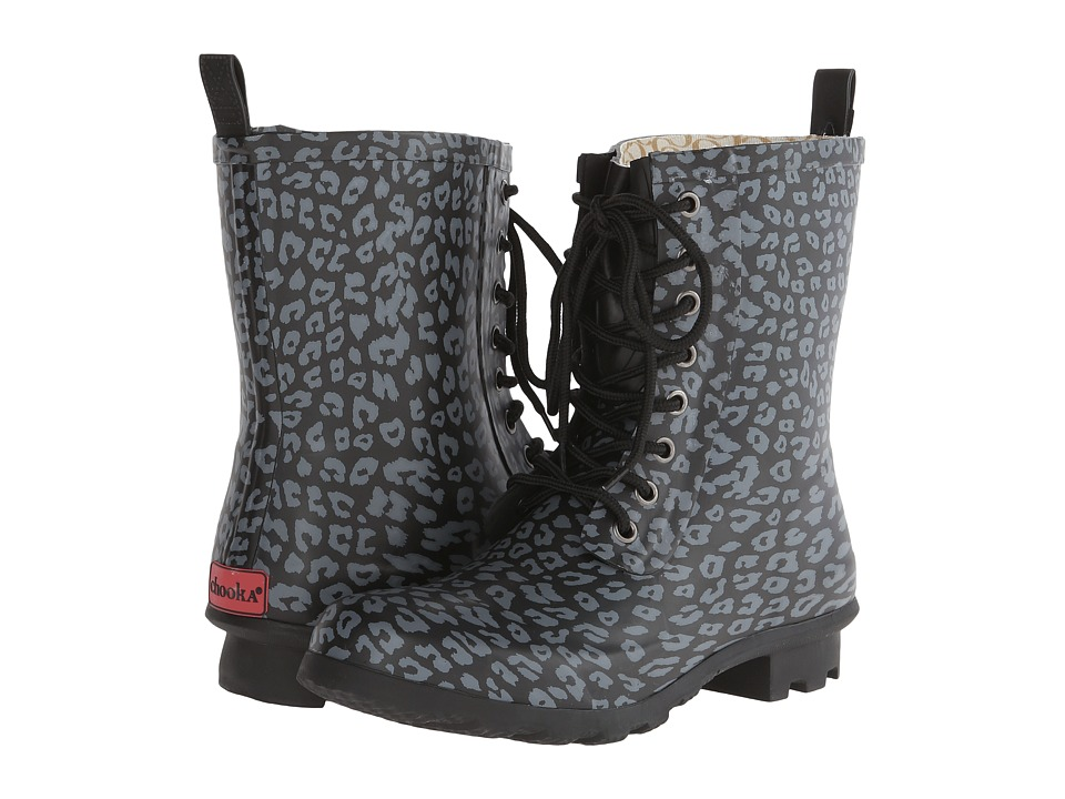 Chooka Leopard Combat Rain Boot (Black) Women