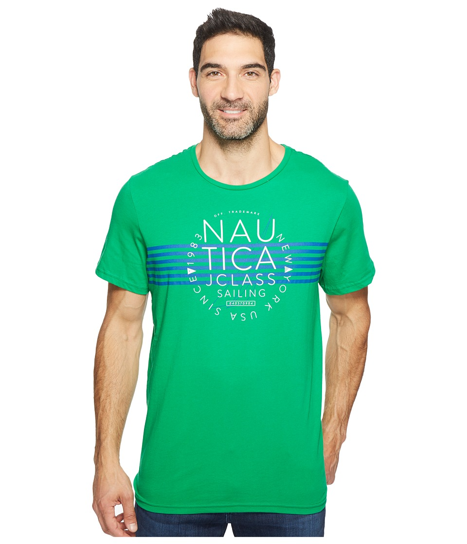 Nautica - Short Sleeve Stripe J-Class Crew (Rolling Green) Men's T Shirt