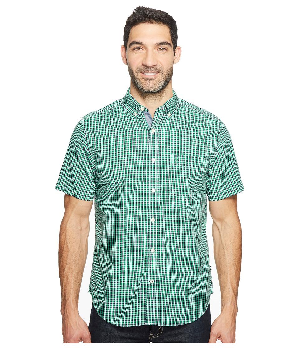 Nautica - Short Sleeve Buffalo Plaid (Rolling Green) Men's Clothing