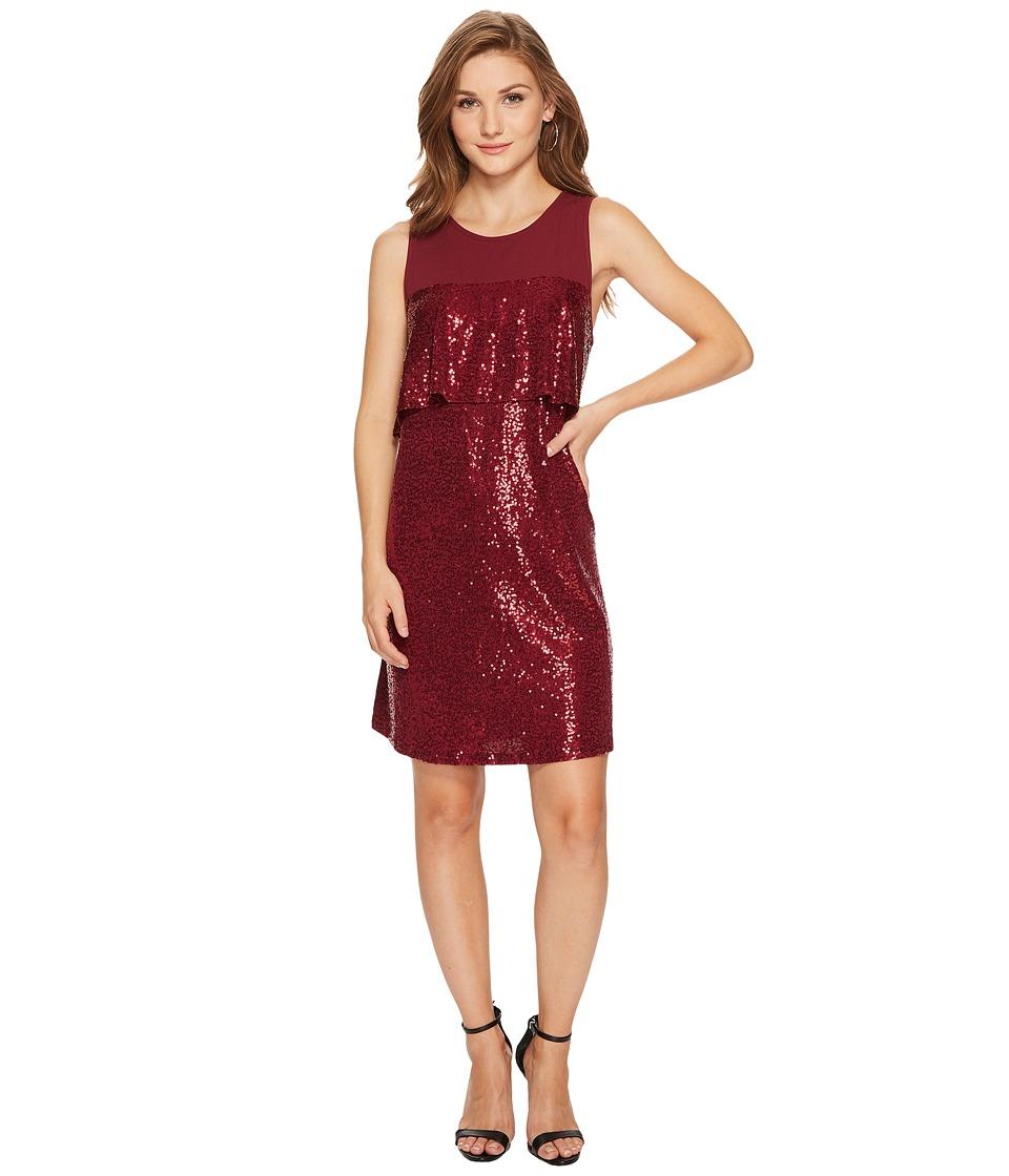 kensie Sequin Jersey Dress KSNK9882 (Cherrywood) Women