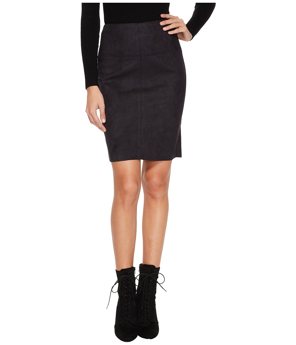 kensie Scuba Suede Skirt KS0U6181 (Black) Women