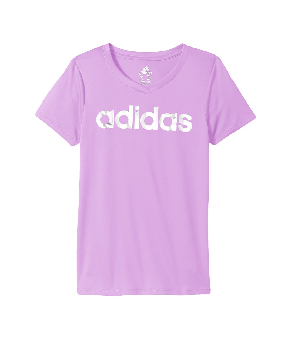 adidas Kids - Short Sleeve V-Neck Top (Big Kids) (Light Purple) Girl's T Shirt