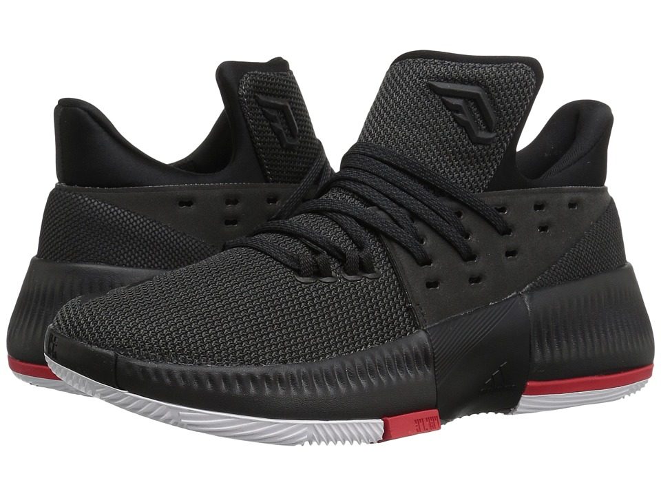 adidas Kids - D Lillard 3 (Big Kid) (Utility Black/Black/Scarlet) Kids Shoes