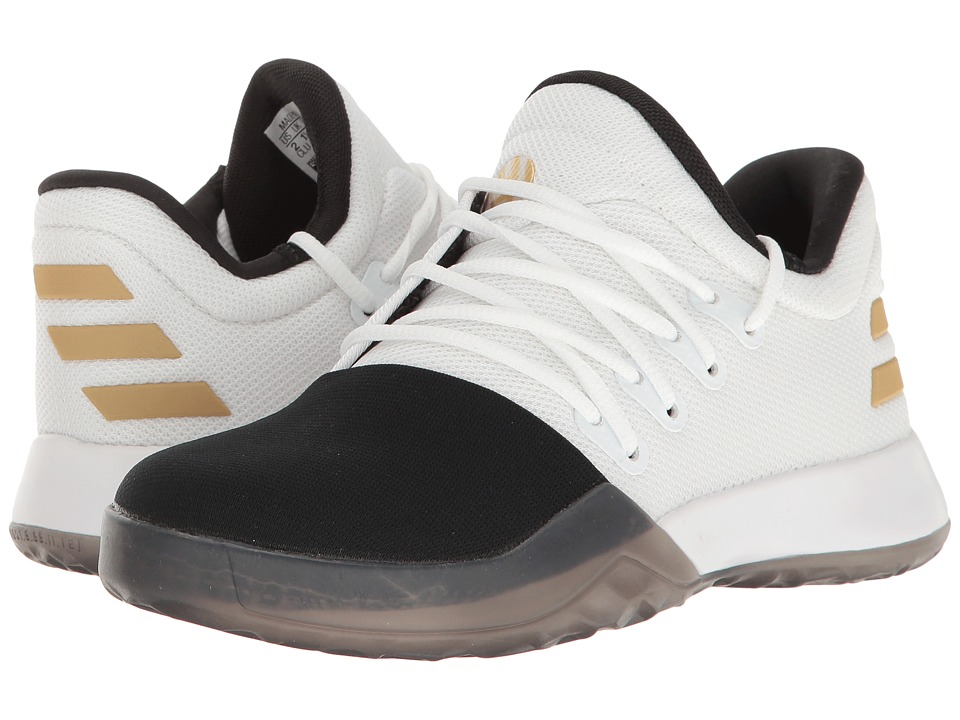 adidas Kids Harden Vol. 1 (Little Kid) (White/Black/Gold Metallic) Kids Shoes