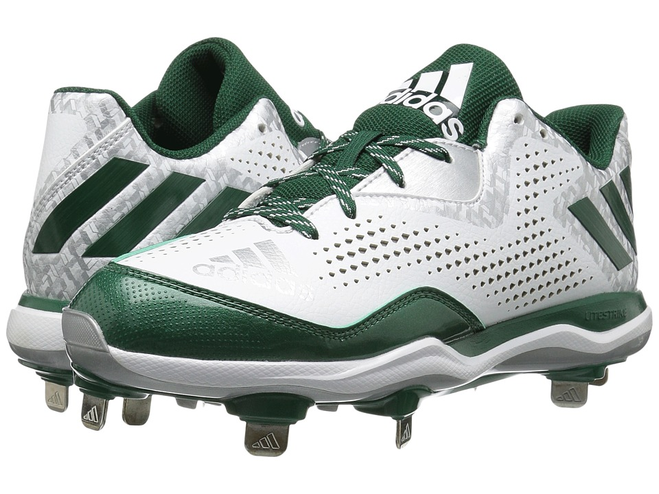 adidas - PowerAlley 4 (White/Dark Green/Silver Metallic) Men's Shoes