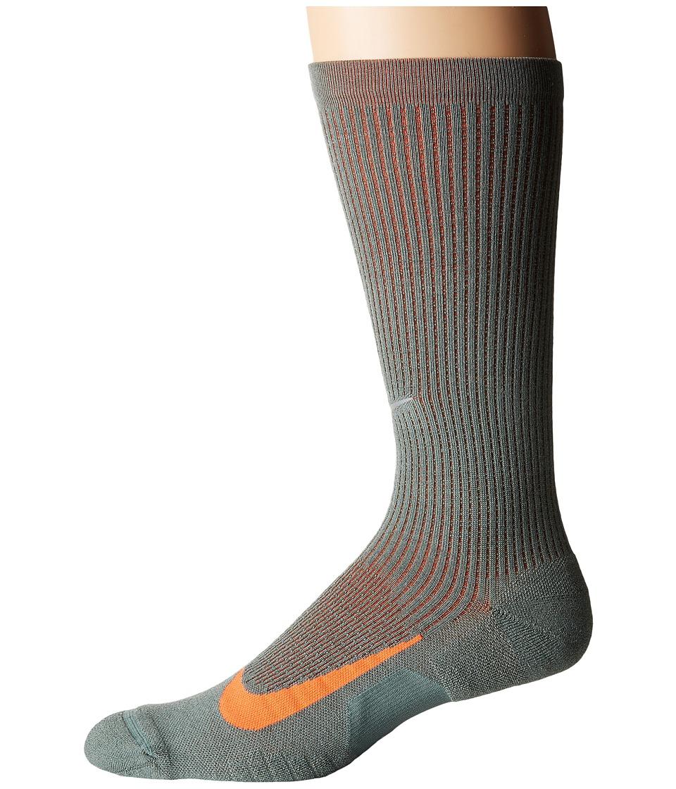 Nike Elite Merino Cushioned Crew Running Socks (Clay Green/Sequoia/Hyper Crimson) Crew Cut Socks Shoes