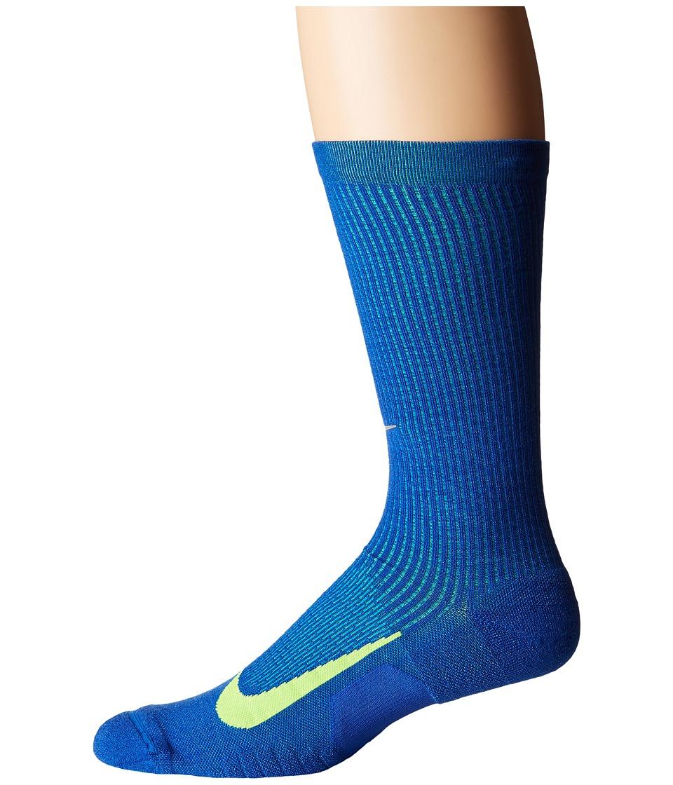 Nike Elite Merino Cushioned Crew Running Socks (Game Royal/Volt) Crew Cut Socks Shoes