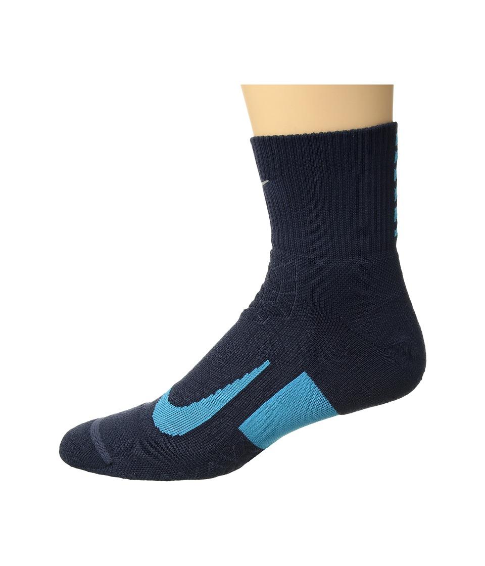Nike Elite Cushion Quarter Running Socks (Thunder Blue/Light Blue Fury/Light Blue Fury) Quarter Length Socks Shoes