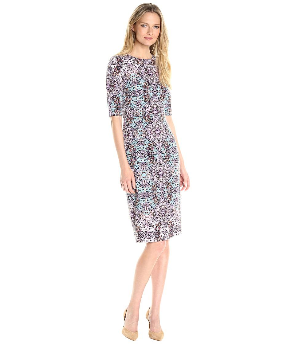 Maggy London - Byzantine Shield MJ Midi Sheath Dress (Soft White/Aqua) Women's Dress