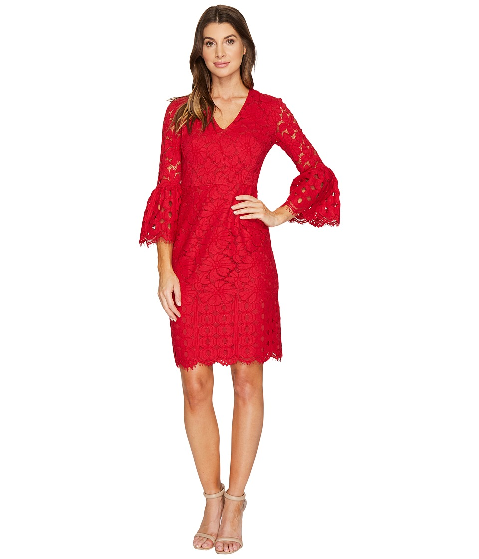 Maggy London - Lace Sheath Dress with Novelty Sleeves (Cranberry) Women's Dress