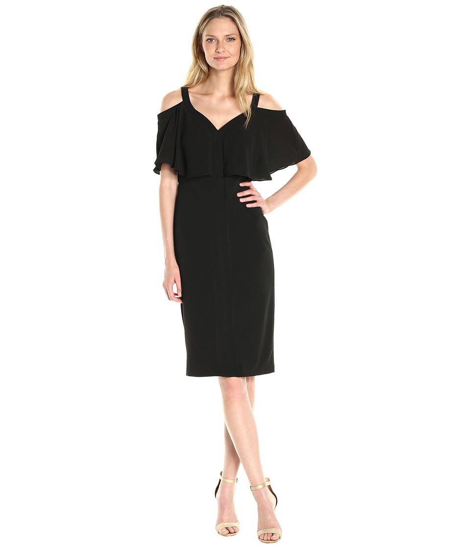 Maggy London Cold Shoulder Midi Sheath Dress w/ Flutter Sleeves (Black) Women