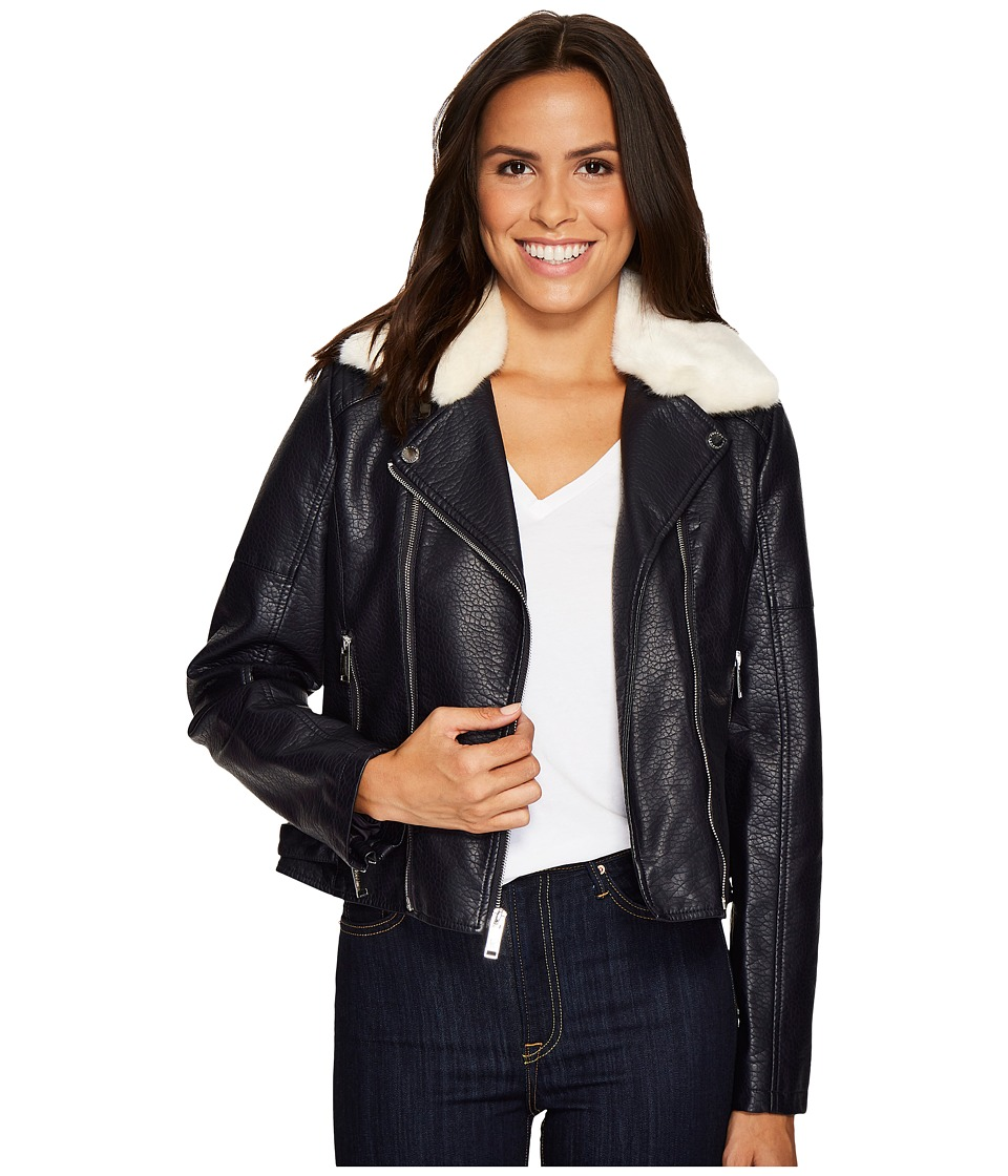 French Connection - Faux Leather Moto Jacket with Shearling Collar (Navy) Women's Coat