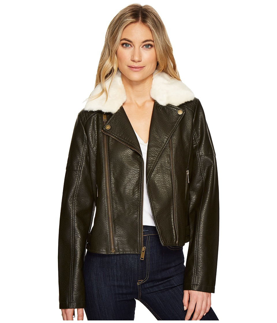 French Connection - Faux Leather Moto Jacket with Shearling Collar (Dark Olive) Women's Coat