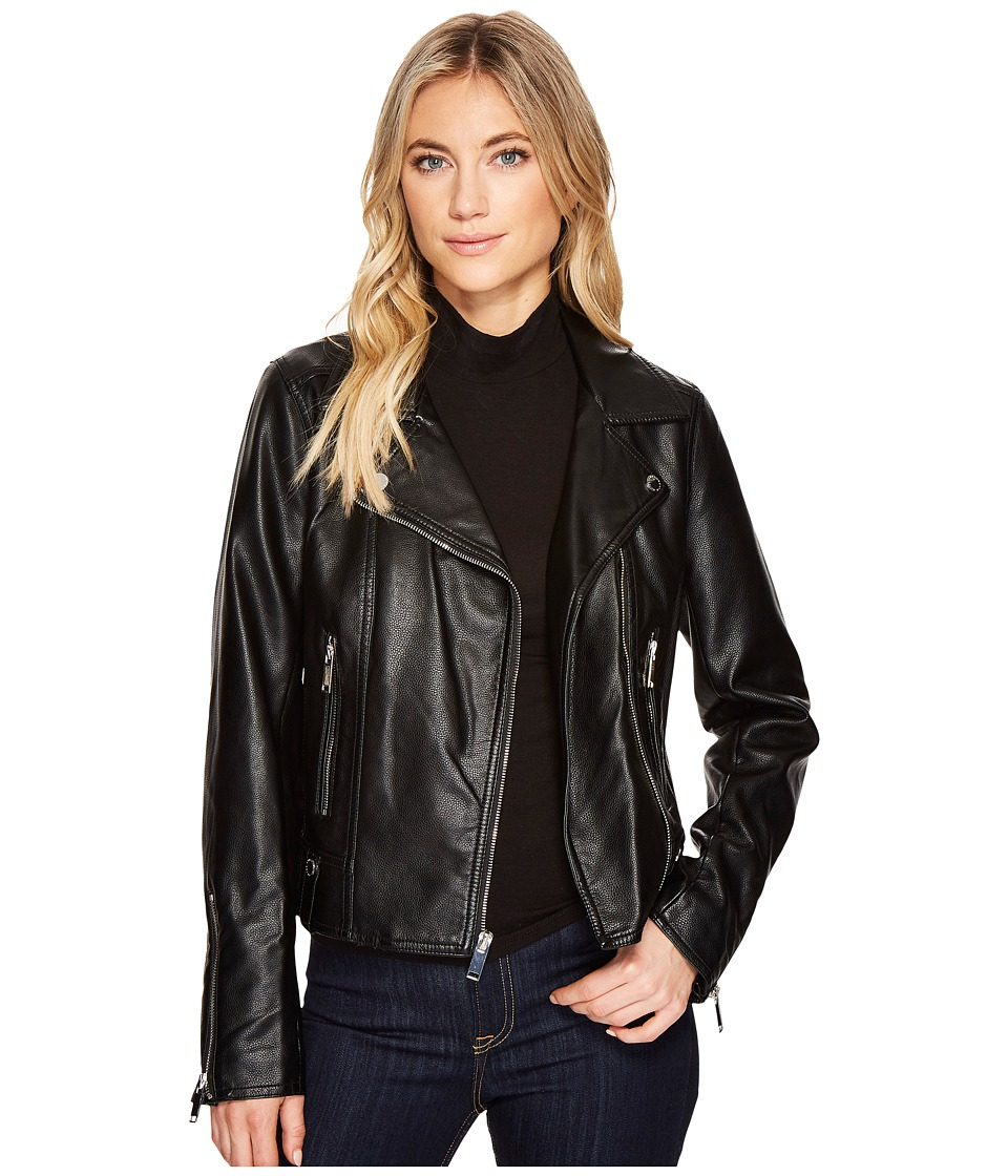 French Connection - Faux Leather Moto Jacket (Black) Women's Coat