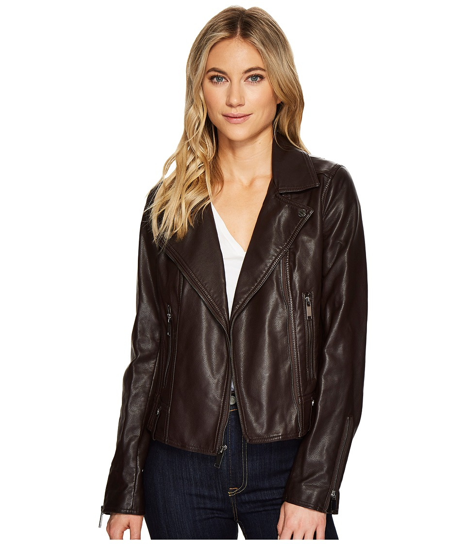 French Connection - Faux Leather Moto Jacket (Berry) Women's Coat