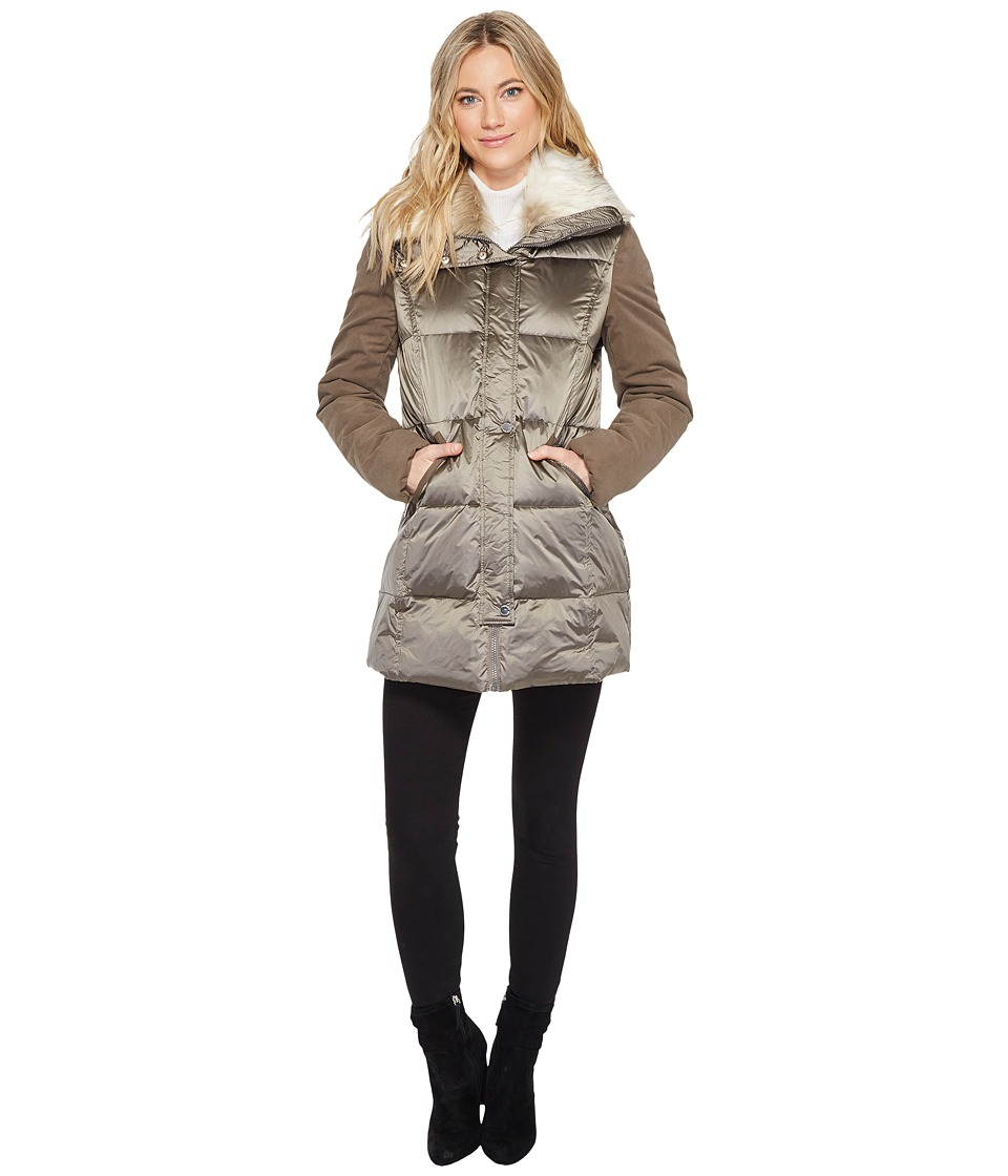 French Connection - Puffer with Faux Fur Hood (Taupe) Women's Coat