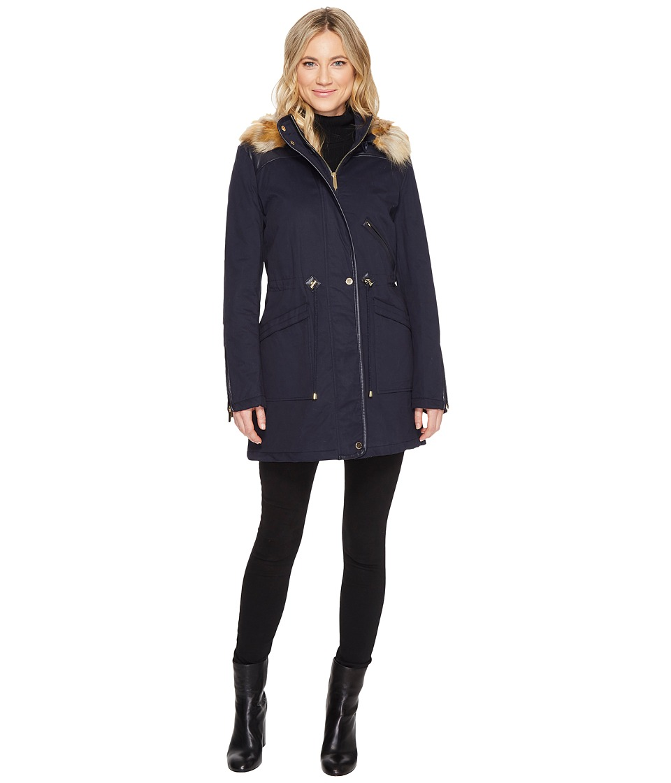French Connection - Anorak Faux Fur Hood and Drawstring Waist (Utility Blue) Women's Coat