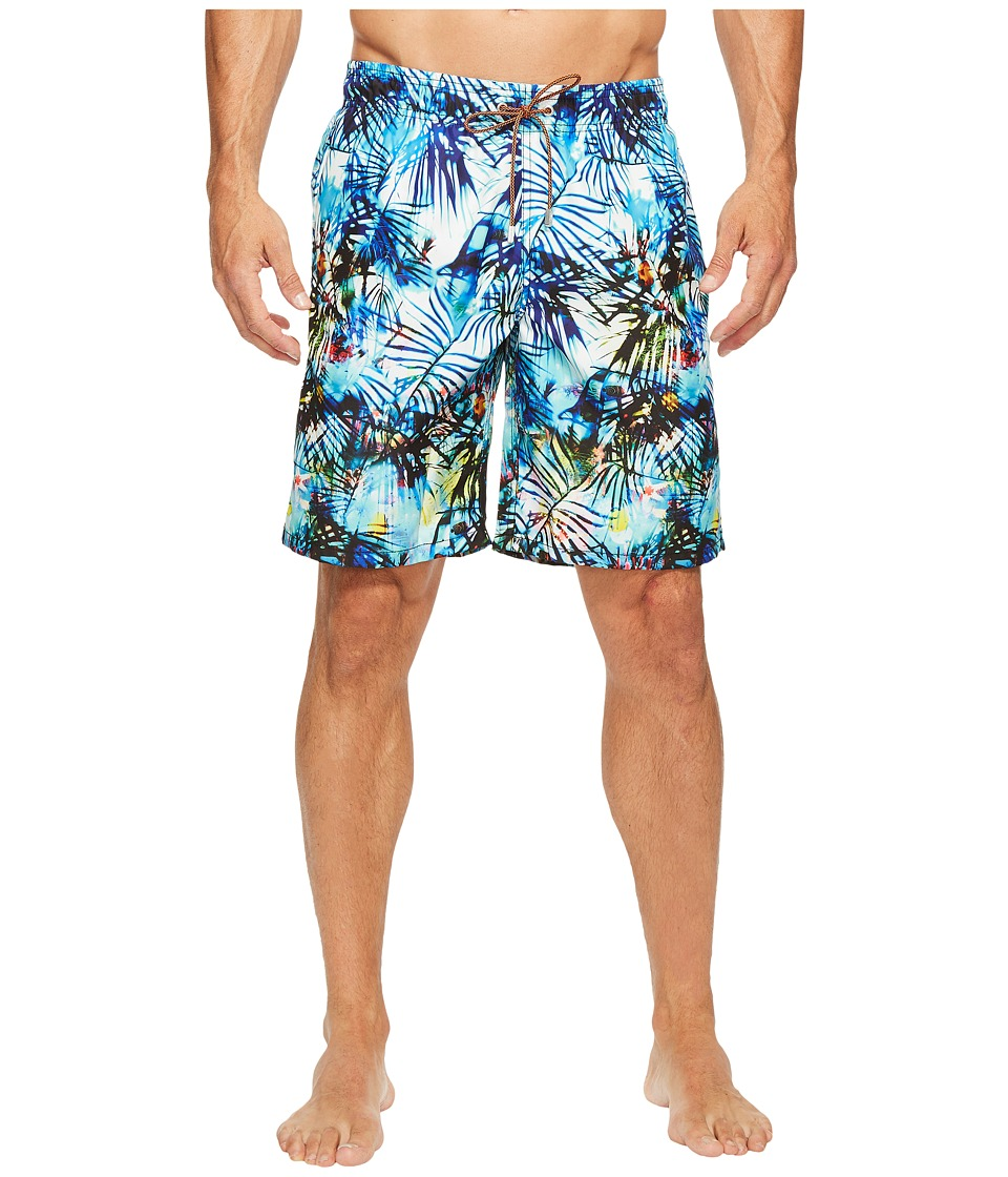 BUGATCHI - Tropical Palm and Fish Swim Trunks (Classic Blue) Men's Swimwear