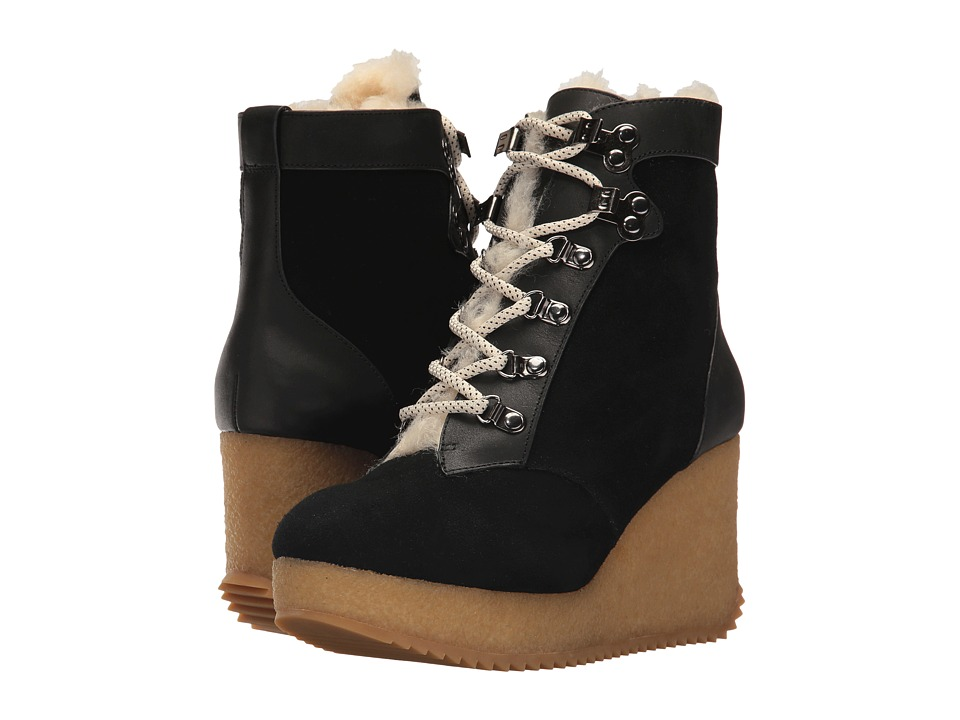 Joie Alary (Black Calf Suede/Shearling) Women