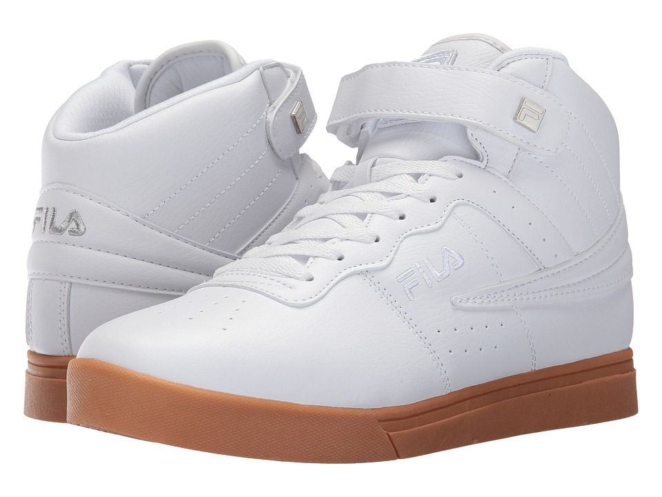 Fila - Vulc 13 Mid Plus (White/Metallic Silver/Gum) Men's Shoes