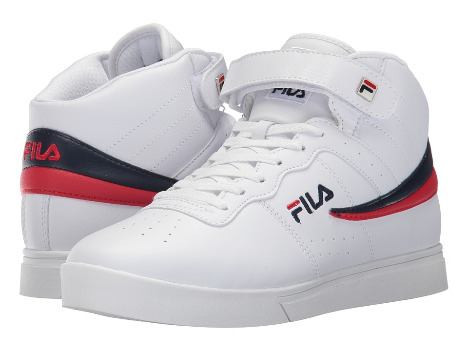 Fila Vulc 13 Mid Plus (White/Fila Navy/Fila Red) Men