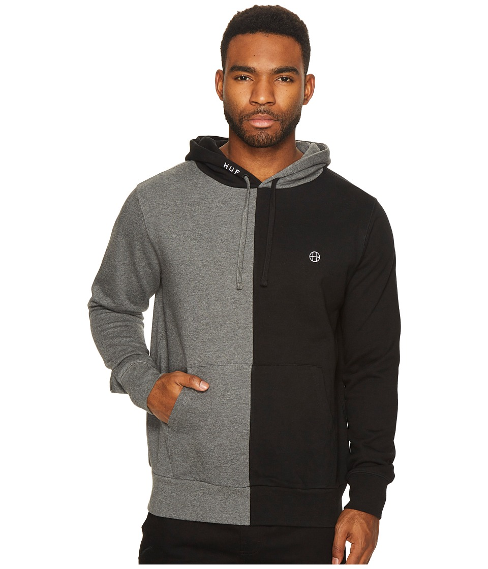 HUF - Henry Pullover Hoodie (Black/Charcoal Heather) Men's Sweatshirt