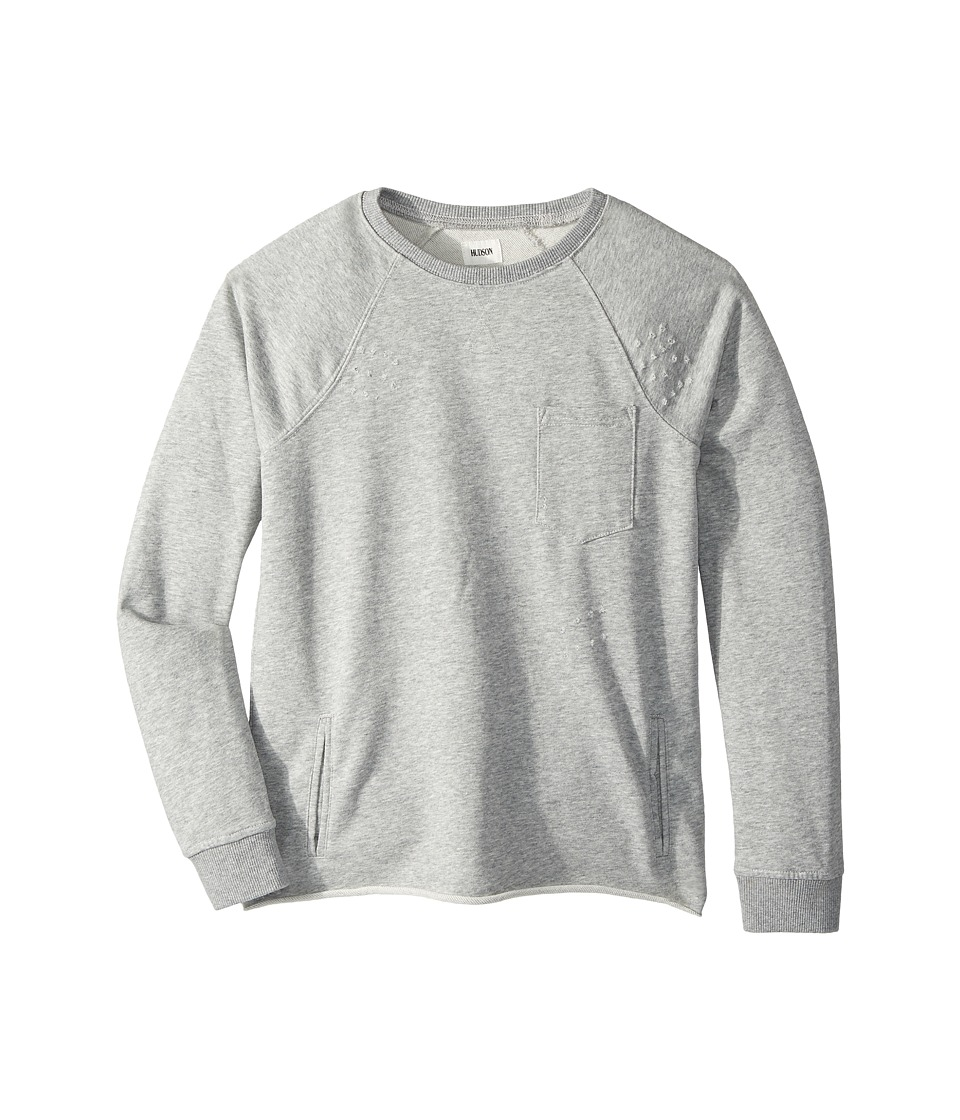 Hudson Kids - Raglan Shirt French Terry Pullover w/ Grinding Destruction (Big Kids) (Grey Heather) Boy's Clothing
