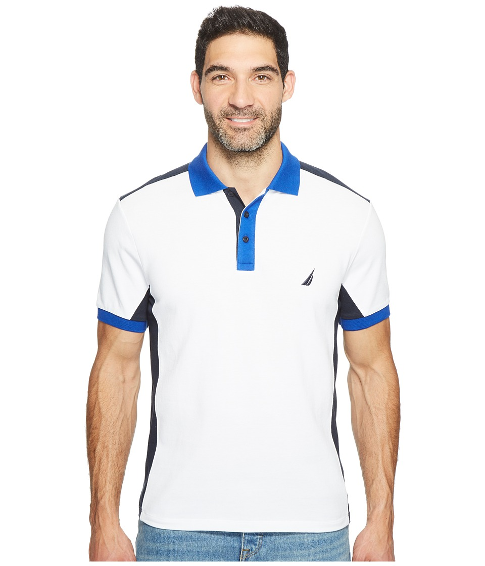 Nautica - Short Sleeve Color Block Polo (Bright White) Men's Short Sleeve Pullover