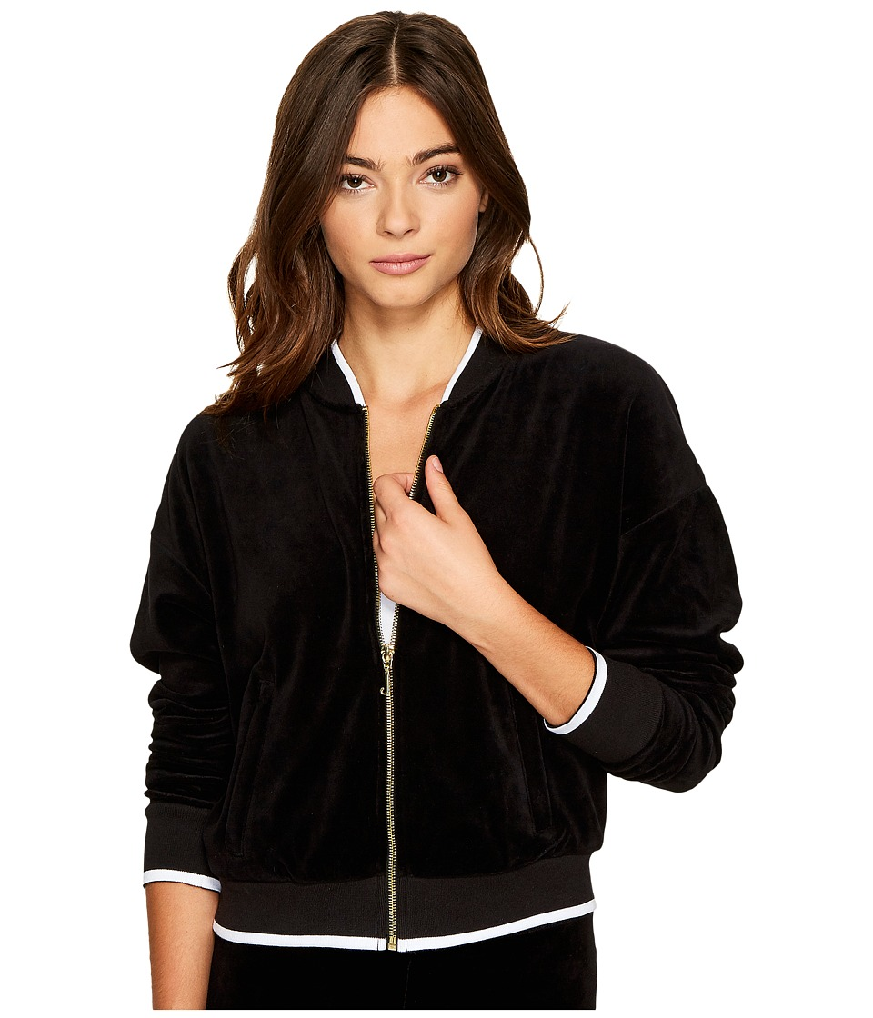 Juicy Couture - Velour Ruched Sleeve Jacket (Pitch Black) Women's Coat