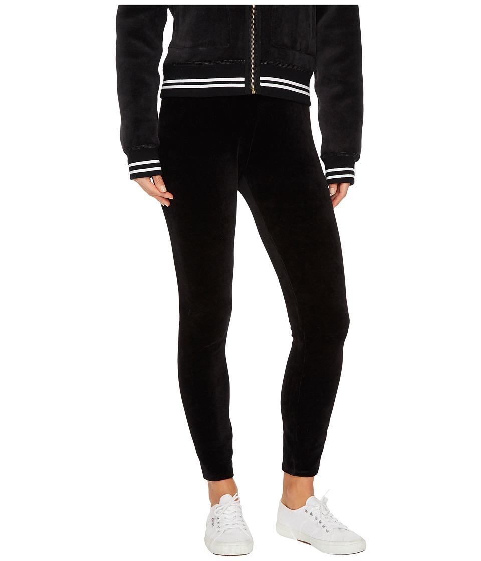 Juicy Couture Stretch Velour Juicy Leggings (Pitch Black) Women
