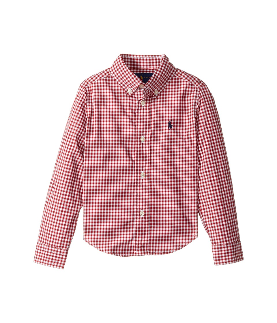 Polo Ralph Lauren Kids - Gingham Cotton Poplin Top (Toddler) (Red Multi) Boy's Long Sleeve Button Up