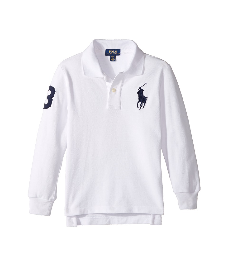 Polo Ralph Lauren Kids - Cotton Mesh Long Sleeve Polo Top (Toddler) (White) Boy's Short Sleeve Pullover