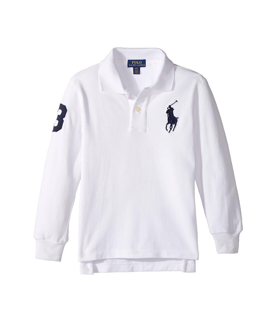 Polo Ralph Lauren Kids - Cotton Mesh Long Sleeve Polo Top (Toddler) (White) Boy's Short Sleeve Pullover