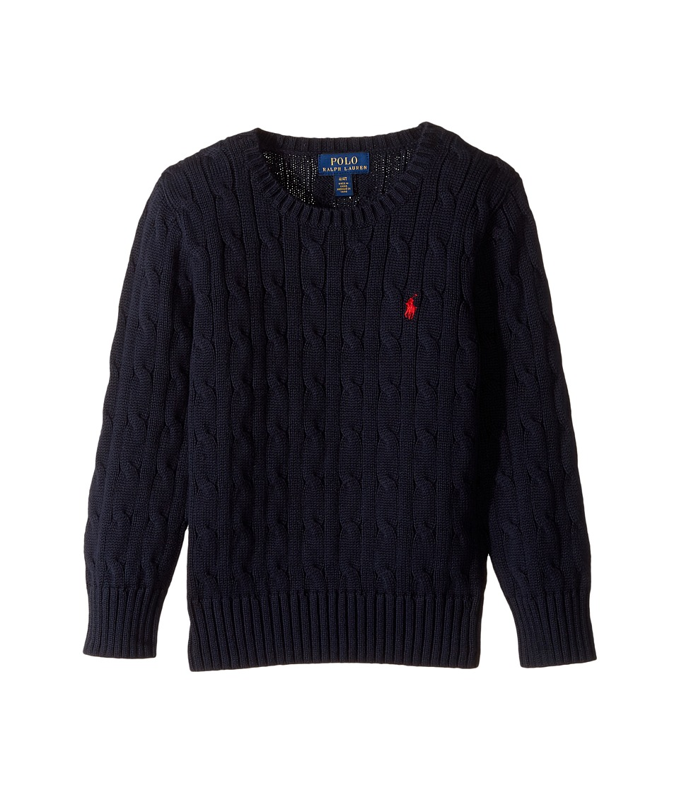 Polo Ralph Lauren Kids - Cable Knit Cotton Sweater (Toddler) (Hunter Navy) Boy's Sweater