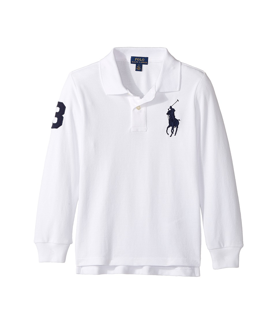 Polo Ralph Lauren Kids - Cotton Mesh Long Sleeve Polo Top (Little Kids/Big Kids) (White) Boy's Long Sleeve Pullover