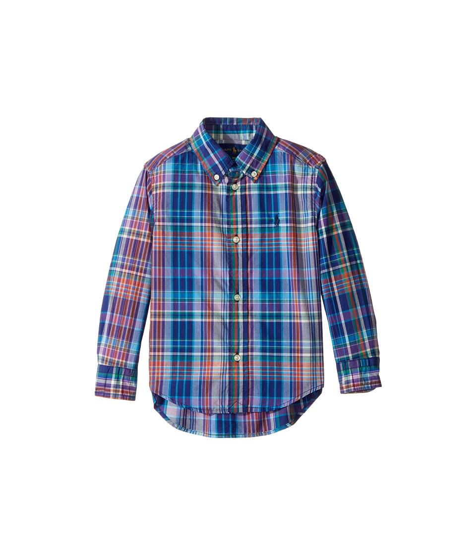 Polo Ralph Lauren Kids - Plaid Cotton Poplin Top (Toddler) (Blue Multi) Boy's Long Sleeve Button Up