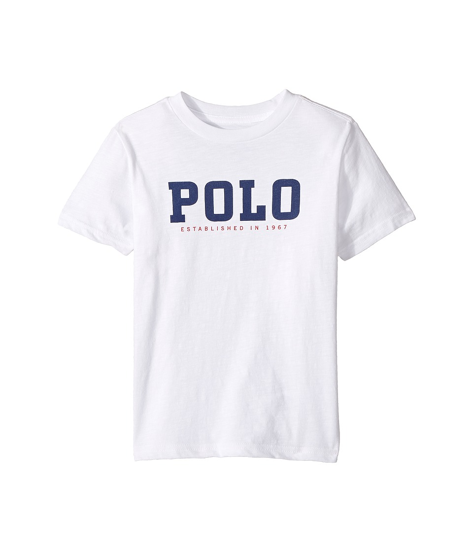 Polo Ralph Lauren Kids - Slub Cotton Jersey Graphic Tee (Little Kids/Big Kids) (White) Boy's T Shirt