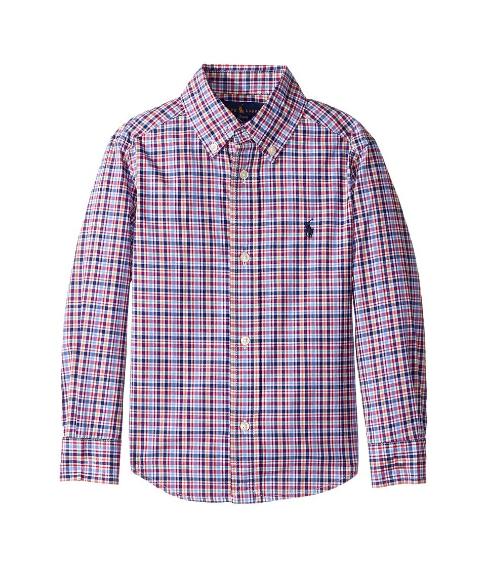 Polo Ralph Lauren Kids - Plaid Cotton Poplin Top (Toddler) (Red Multi) Boy's Long Sleeve Button Up