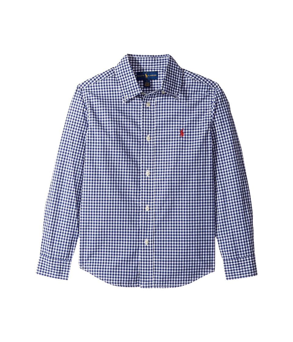 Polo Ralph Lauren Kids - Gingham Cotton Poplin Top (Little Kids/Big Kids) (Royal Multi) Boy's Long Sleeve Button Up