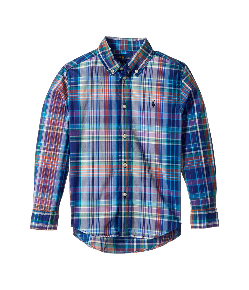 Polo Ralph Lauren Kids - Plaid Cotton Poplin Top (Little Kids/Big Kids) (Blue Multi) Boy's Long Sleeve Button Up