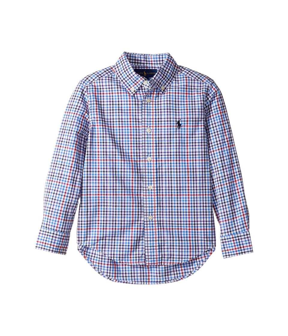 Polo Ralph Lauren Kids - Plaid Cotton Poplin Top (Little Kids/Big Kids) (Light Blue Multi) Boy's Long Sleeve Button Up