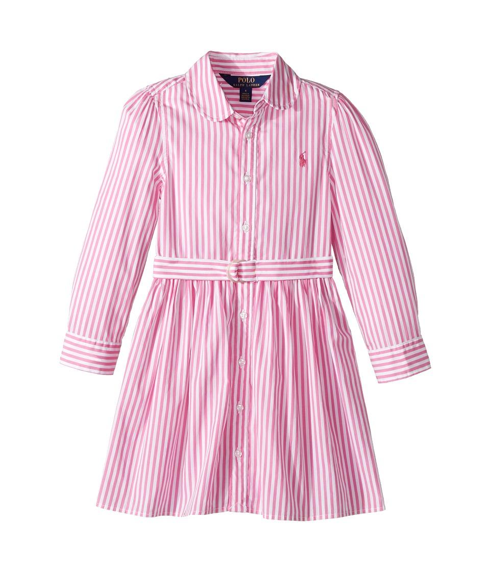 Polo Ralph Lauren Kids - Striped Cotton Shirtdress (Little Kids) (Pink/White) Girl's Dress