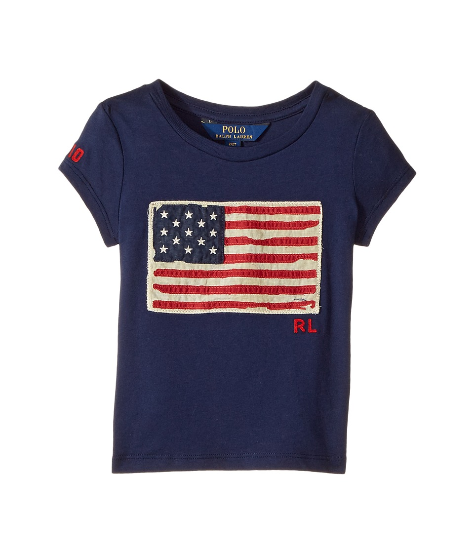 Polo Ralph Lauren Kids - Washed Cotton Graphic Tee (Toddler) (Newport Navy) Girl's T Shirt